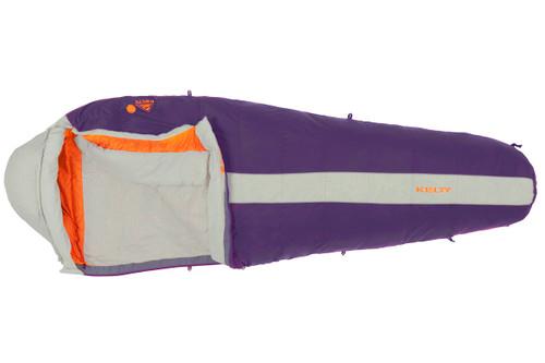 Kelty Women's Cosmic 20 sleeping bag, purple/white, unzipped quarter length, showing white interior fabric