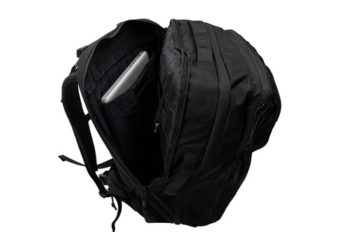 Kelty Nomad travel pack, black, with rear pocket opened to show laptop sleeve