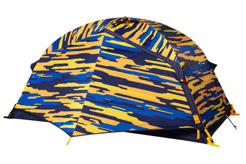 Kelty Ranger Doug 2 Person Tent, blue, shown with blue/orange camouflage pattern rain fly attached and fully closed