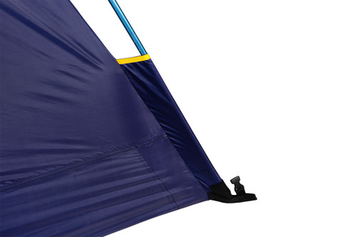 Close up of Kelty Ranger Doug 4 Person Tent, showing tent pole inserted into pole sleeve at the bottom corner of tent