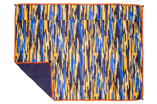 Kelty Ranger Doug Deployable Blanket, bright orange and blue camouflage pattern, top view
