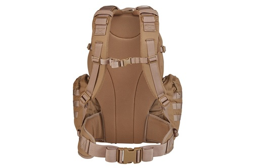 Strike 2300 USA backpack, Coyote Brown, rear view, showing padded shoulder straps and waist belt