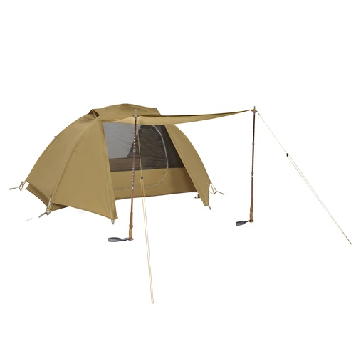 Kelty 1 Man Field Tent Import tent, shown with rain fly attached and unzipped, and awning deployed using 2 trekking poles