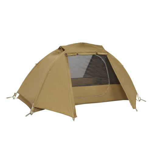 Kelty 1 Man Field Tent Import tent, shown with rain fly attached and unzipped
