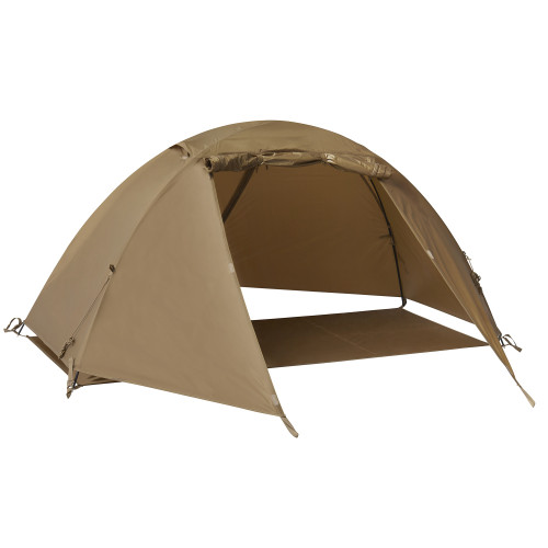 Kelty 2 Man Field Tent Import tent, brown, showing only rain fly and footprint