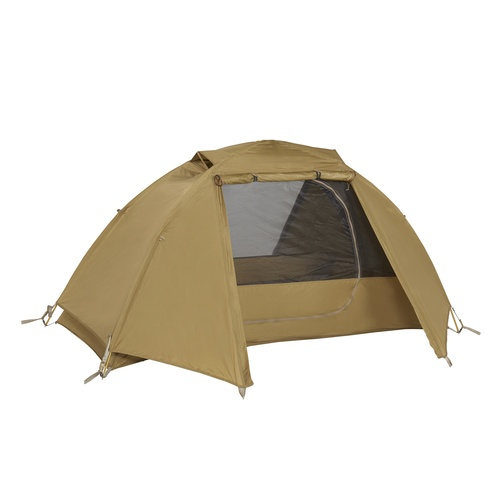 Kelty 2 Man Field Tent Import tent, brown, shown with rain fly attached and unzipped