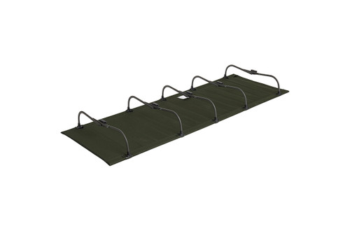 Kelty Discovery Low Cot, dark olive green, flipped upside-down to show folding legs