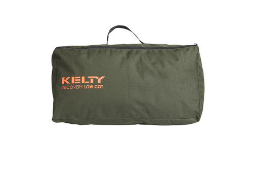 Kelty Discovery Low Cot, dark olive green, packed inside zippered storage bag