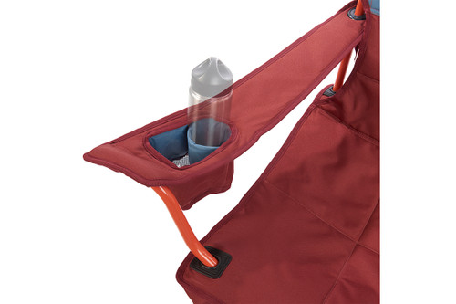 Close up of Kelty Discovery Low-Love 2-person chair, blue/red, showing small water bottle in armrest pocket