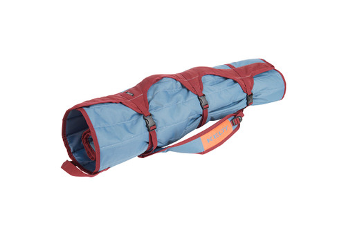 Kelty Discovery Lowdown chair, blue/red, packed inside storage tote, fully buckled