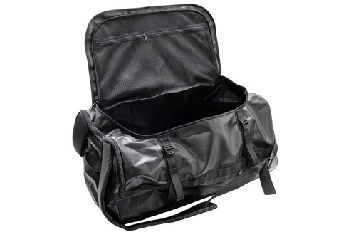 Kelty water resistant duffel, black, front view, with top flap fully unzipped and opened