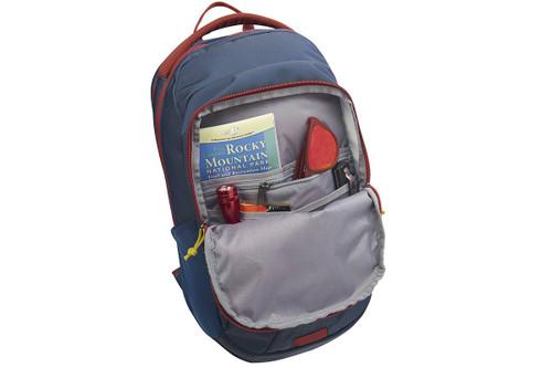 Kelty Slate 30 Daypack, Midnight Navy/Red Ochre, opened to show internal organization pockets