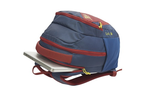 Kelty Slate 30 Daypack, Midnight Navy/Red Ochre, opened to show dedicated laptop pocket
