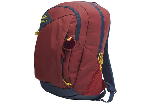 Kelty Quartz 33 Daypack, Red Ochre/Midnight Navy, front view, with sunglasses partially extending from front exterior pocket