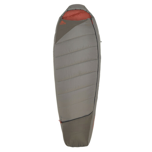 Kelty Tuck 0 sleeping bag, gray, shown unzipped quarter length