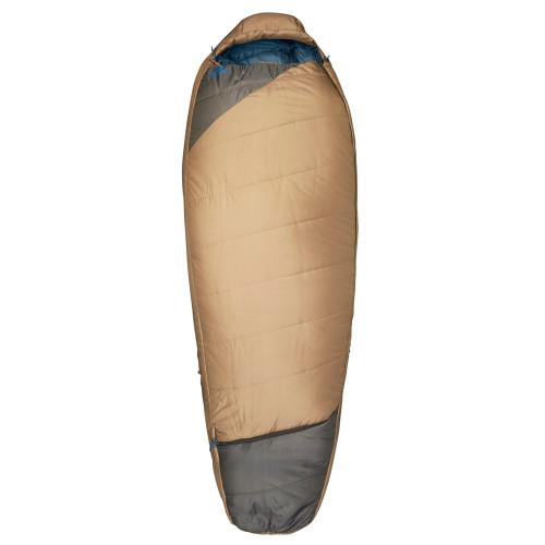 Kelty Tuck 20 sleeping bag, brown, shown fully zipped