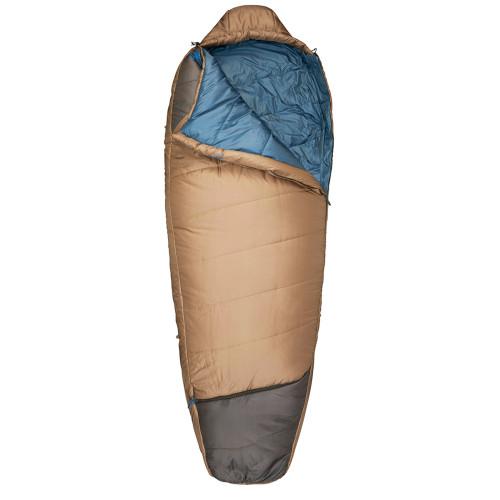 Kelty Tuck 20 sleeping bag, brown, shown unzipped quarter length