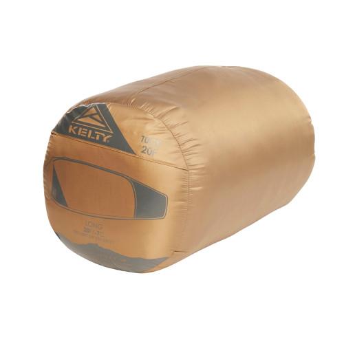 Kelty Tuck 20 sleeping bag, brown, shown in nylon stuff sack