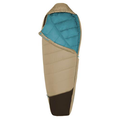 Kelty Women's Tuck 20 sleeping bag, Khaki, shown unzipped quarter length