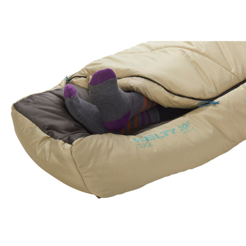 Close up of Kelty Women's Tuck 20 sleeping bag, Khaki, showing how feet can extend out of footbox opening
