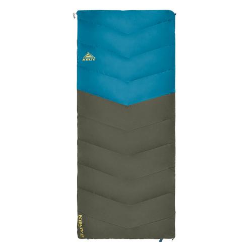 Kelty Galactic 30 Dridown sleeping bag, blue/green, shown fully zipped