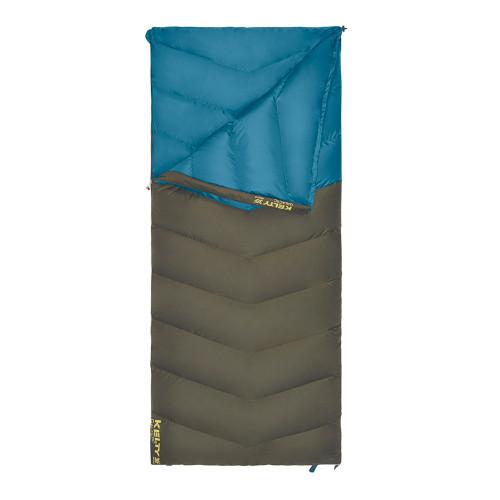 Kelty Galactic 30 Dridown sleeping bag, blue/green, shown unzipped quarter length