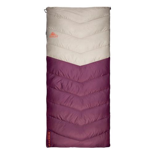 Women's Galactic 30 Dridown sleeping bag, white/purple, shown fully zipped