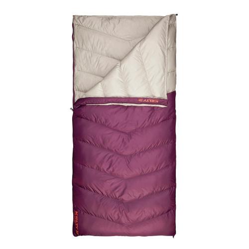 Women's Galactic 30 Dridown sleeping bag, white/purple, shown unzipped quarter length