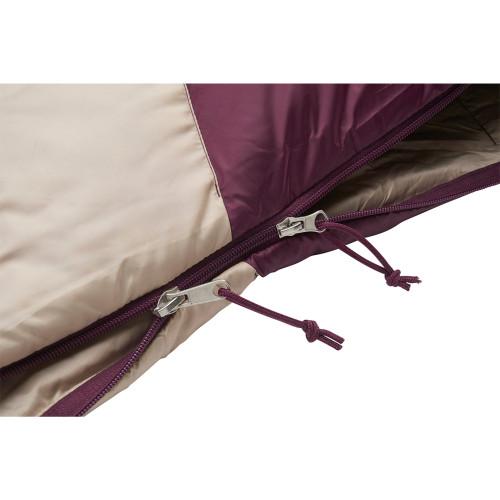 Close up of Women's Galactic 30 Dridown sleeping bag, white/purple, showing dual sliding zippers