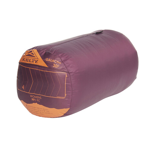 Women's Galactic 30 Dridown sleeping bag, shown packed inside purple nylon stuff sack