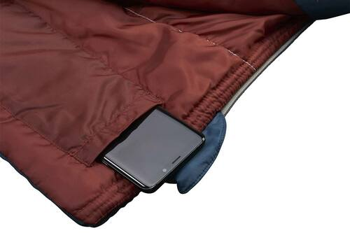 Close up of Kelty Callisto 30 sleeping bag, showing phone partially extending from interior phone pocket