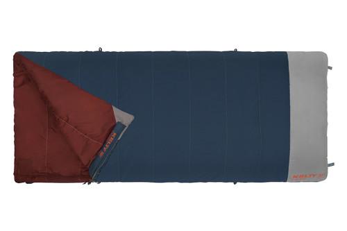 Kelty Callisto 30 sleeping bag, blue, shown unzipped quarter length
