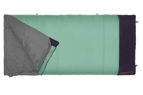 Kelty Women's Callisto sleeping bag, green, shown unzipped quarter length