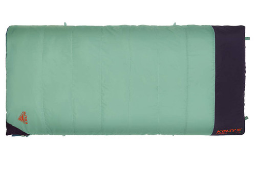 Kelty Women's Callisto sleeping bag, green, shown fully zipped