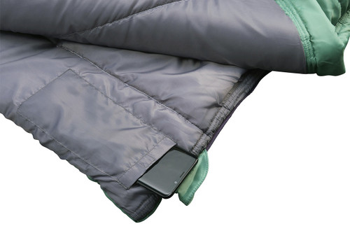 Close up of Kelty Women's Callisto sleeping bag, green, showing phone partially extending from internal phone pocket