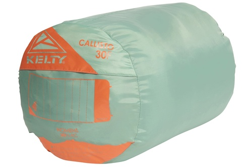 Kelty Women's Callisto sleeping bag, green, shown packed inside stuff sack