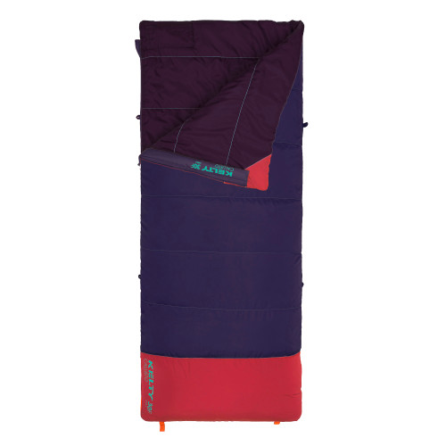 Kelty Kids Callisto 30 sleeping bag, Italian Plum, shown unzipped quarter length