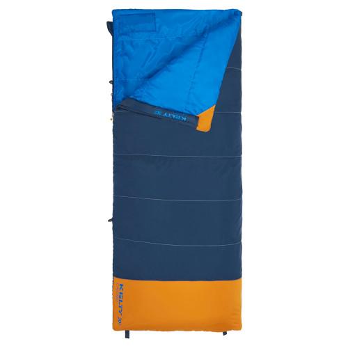 Kelty Kids Callisto 30 sleeping bag, Midnight Navy, shown unzipped quarter length
