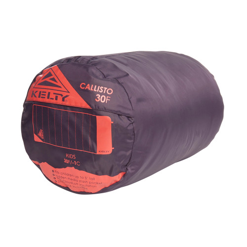 Kelty Kids Callisto 30 sleeping bag, Italian Plum, shown packed inside stuff sack