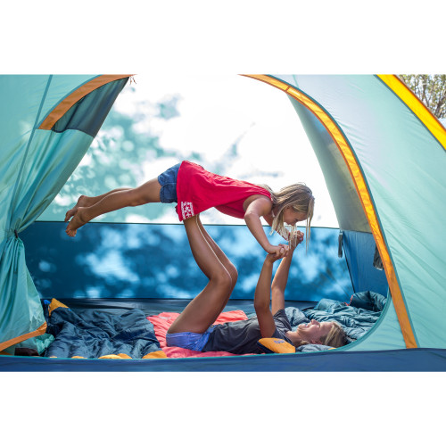 Kids playing in Kelty tent