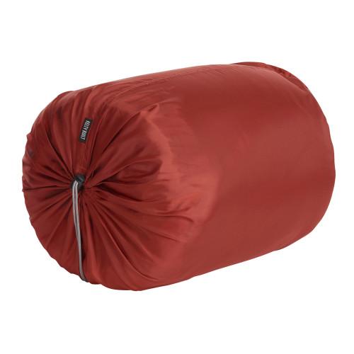 Kelty Mistral 0 sleeping bag, shown packed inside orange stuff sack
