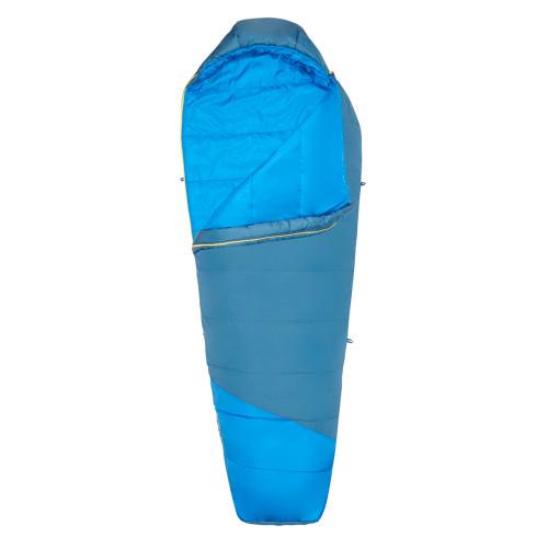 Kelty Mistral 20 sleeping bag, blue, shown unzipped quarter length
