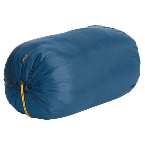 Kelty Mistral 20 sleeping bag, shown packed inside blue stuff sack