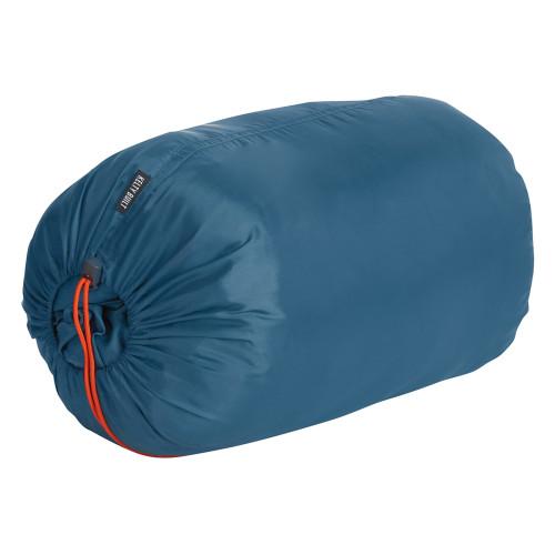 Kelty Women's Mistral 20 sleeping bag, shown packed inside blue stuff sack