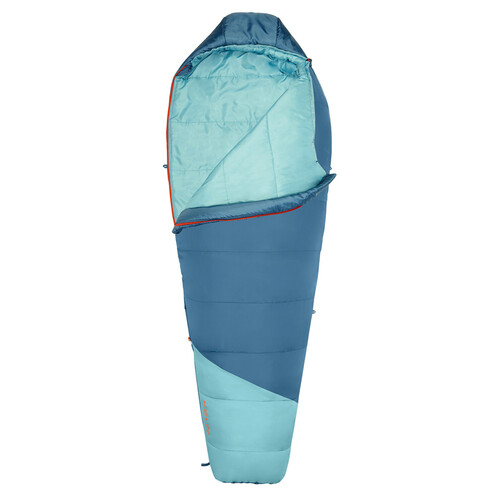 Kelty Women's Mistral 20 sleeping bag, blue, shown unzipped quarter length