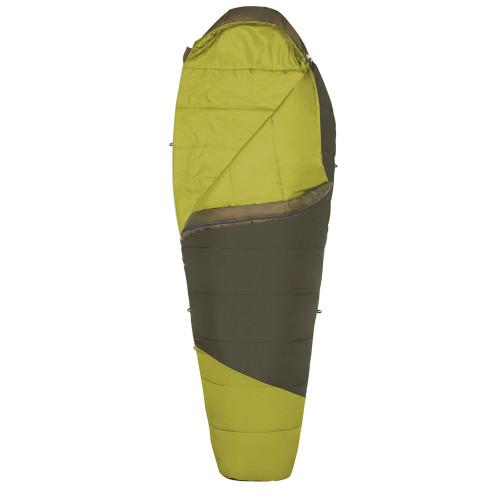 Kelty Mistral 40 sleeping bag, green, shown unzipped quarter length