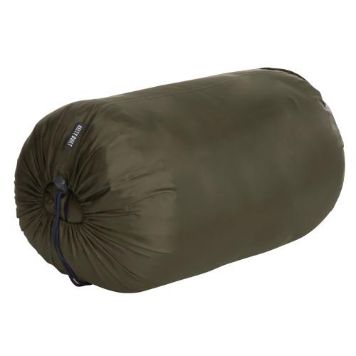 Kelty Mistral 40 sleeping bag, shown packed inside green stuff sack
