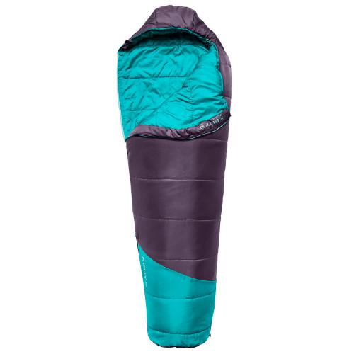 Kids Mistral 30 sleeping bag, purple, shown unzipped quarter length