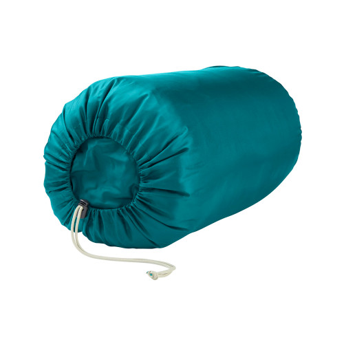 Kids Mistral 30 sleeping bag, shown packed inside teal stuff sack