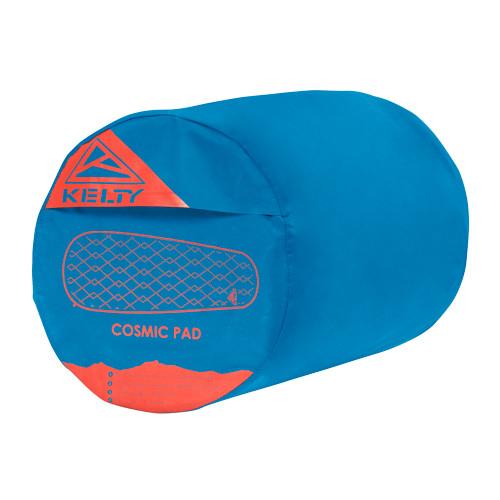 Kelty Cosmic Mummy Sleeping Pad, blue, shown in stuff sack